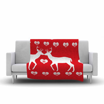 "Suzanne Carter ""Christmas Deer 2"" Holiday Pattern Fleece Throw Blanket"