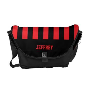 Personalized Messenger Bag, Any Name, Red & Black Messenger Bag