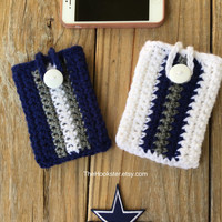 Crochet iPhone Galaxy Note Case with size options, Dallas Cowboys iPhone Sleeve, Cowboys Home & Away Colors Phone Cover, Crochet Phone Case