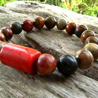Picasso Jasper & Red Coral Beaded Bracelet / Mala Style Stretchy Boho Hippie Surfer Beach Festival Bracelet / Men's Jewellery