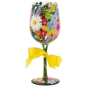 Lolita from Enesco Wine Glass, Wildflowers
