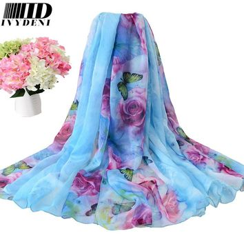 196*146cm 2016 Chiffon Scarf Shawl Vintage Elegant Ladies Long Silk Chiffon Scarf Designers Scarf Women Summer Beach Cover Up