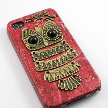 Owl with Brass Branch Hard Case Cover for iPhone 4 Case, iPhone 4s Case, iPhone 4 Hard Case, iPhone Case