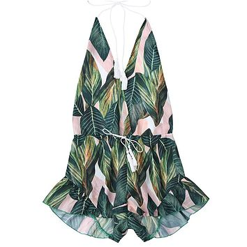 Andrea Leafy Halter Playsuit