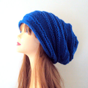 Women Super Slouchy Beanie Knit Baggy Hat Dreadlock Rasta Hat Navy Blue Slouchy Hat Fall Winter Hat Beret Gift Ideas Fashion Accessories
