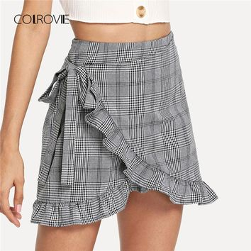 Grey Plaid Ruffle Frill Trim Knot Side Wrap Skirt New Summer Preppy Mini Skirt Mid Waist Holiday Women Skirt