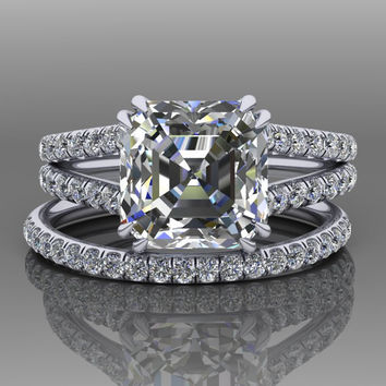 Ascher Cut Forever One Moissanite, Diamond Engagement Set
