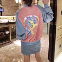 """Moschino"" Women Casual Multicolor Letter Embroidery Cartoon Rainbow Pony Pattern Print Long Sleeve Zip Cardigan Baseball Clothes Coat"
