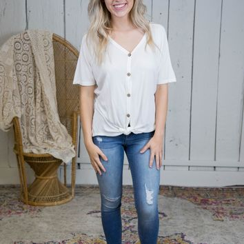 Sama Knotted Button Up Top, Off White