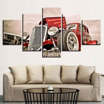 5 Pieces Red Street Hot Rod White Wall Tires Slotted Wheels Wall Art Canvas