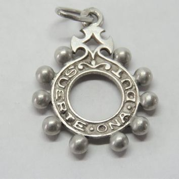 Antique French, Basque, Dizainer, Rosary Ring, Pendant, Silver