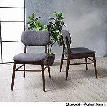 Beatrice Charcoal Fabric Mid Century Modern Dining Chairs (Set of 2)