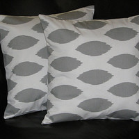 """EUROS Grey on White Ikat 26x26 Floor Pillow Covers gray 26"""" storm Chipper Pillows"""