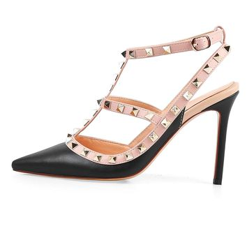 Chris-T Pointed Toe Studded Strappy Slingback High Heel Leather Pumps Stilettos Sandals