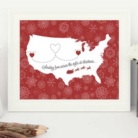 personalised christmas gifts, personalised christmas gift,  best friend gift, across the miles christmas, personalised map, family gifts