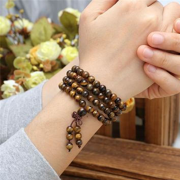 108 Tibetan Buddhist Prayer Mala Natural Tiger Eye Beads Bracelet