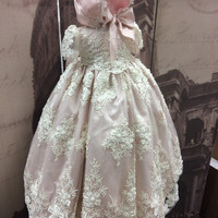 """""""Gracia"""" Christening blush silk and lace gown"""