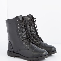 Black Washed Vegan Leather Combat Boot | Combat Boots | rue21
