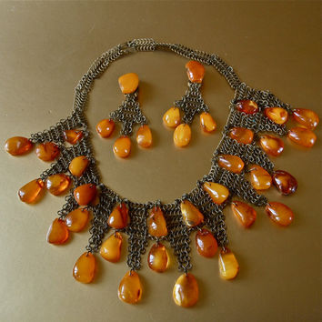 Rare Amber Set Baltic Butterscotch Honey Amber Bib Collar Necklace and Chandelier Earrings Chainmaille Demi Parure Statement Set