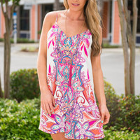 Mosaic Means Tank Dress, Fuchsia