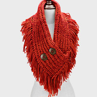 Knitted Infinity Fringe Button Red Scarf