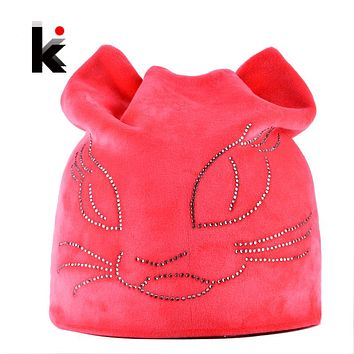 Women's Winter Diamond Cat With Ears Beanie Hat 6 Colors