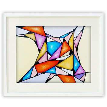 Geometric Print, Abstract Art Print, Modern Wall Art, Housewarming Gift, Colorful Art Triangles 12x16 Signed