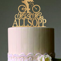 Custom Wedding Cake Topper, Mr and Mrs a bicycle silhouette Personalized your last name, Unique Rustic Wedding Cake Topper, Funny Topper