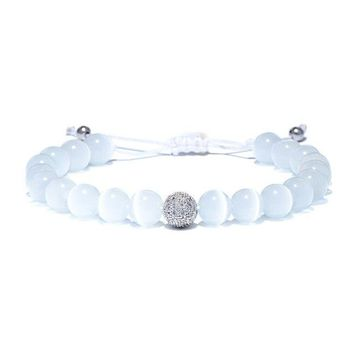 Luxury Shambhala Ball Handmade Bracelet White Opal Beads Strand Braslet For Men Women Meditation Jewelry Pulseras
