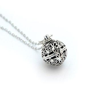 Lava Stone Aromatherapy Pendant/Locket Essential Oil Diffuser Necklace - Antique Silver (Butterfly)