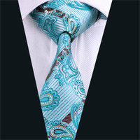 Mens Silk Tie Blue Paisley Neck Tie 100% Silk Jacquard Ties For Men Business Wedding Party