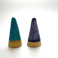 Set of 2 Turquoise & Purple  Ceramic Ring Cones, Pottery Ring Jewelry holder, Modern Minimalist , Gift for Her