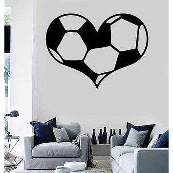 Vinyl Wall Decal Soccer Ball Sports Fans Love Stickers Mural Unique Gift (ig1314)