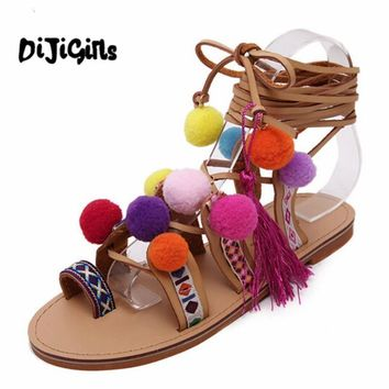 gladiator sandals women shoes 2017 tassel flat multicolour fuzz ball pom pom sandals f