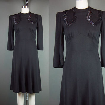 40s Dress Black Vintage 1940s Rayon Crepe Sequin Party Cocktail Holiday XS S B 34""