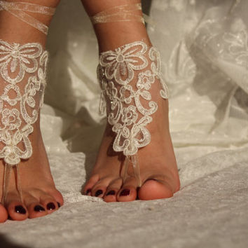 Wedding Accessories,İvory Lace Bridal Anklet,Beach Wedding,Bridal Barefoot Sandals,Bridessmaid Accessory,Foot Jewelry