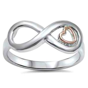.925 Sterling Silver Rose Gold Infinity Heart Ladies Ring size 4-10 Midi