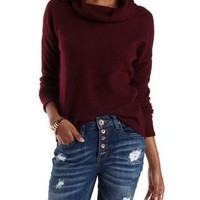 Red Brushed Fleece Slouchy Cowl Neck Top by Charlotte Russe