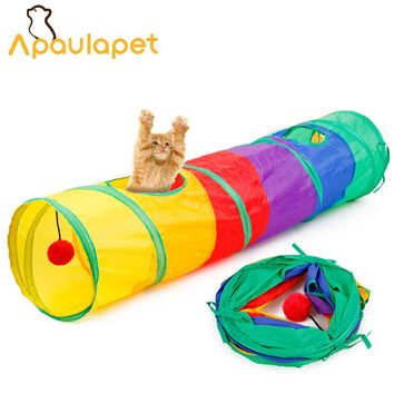 APAULAPET New Funny Cat Tunnel Toy Pet Tent Toy Foldable 2 Holes Colorful Cat Tunnel With Ball Kitten Cat Toy Cat Supplies