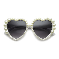 Cute Novelty Heart Shaped Sunglasses Adorned With Pearls 9592