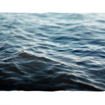 Dark Waters 2 - Fleece Blanket, Navy Blue Coral Fleece Throw Cover Nautical Style Beach Home Decor Interior Accent in 30x40 50x60 60x80 Inch