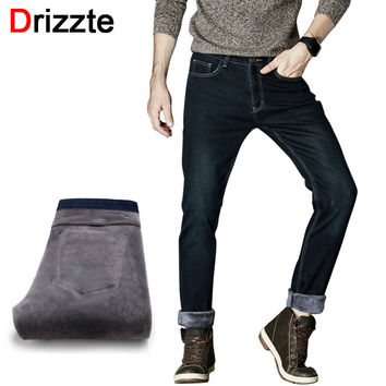 Drizzte Mens Winter Fleece Jeans Lined Stretch Denim Warm Black Jeans For Men Designer Slim Fit Brand Trousers Pants Jeans