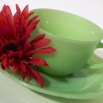 Fire King Jadeite Green Cup and Plate Set Alice Pattern