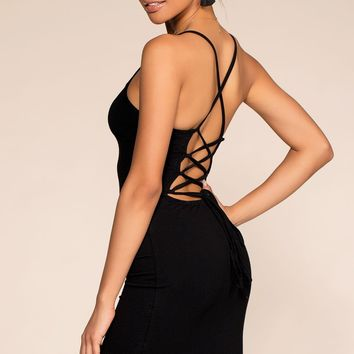 Wishful Thinking Lace Up Bodycon Dress - Black
