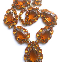 Czech Amber Statement Necklace Retro Mad Men Fashion Couture Runway Jewelry