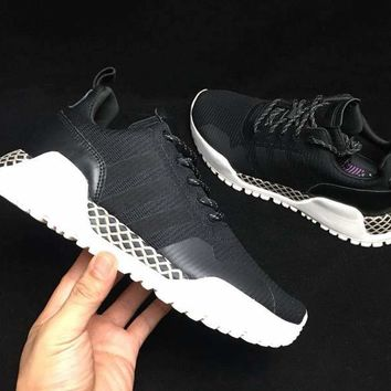 HCXX A286 Adidas AF 1.4 Primeknit Low Casual Sports Running Shoes Black White