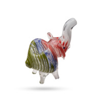 Colorful Glass Animal Pipe - Elephant - Handblown - 5 Inches