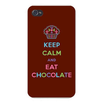 Apple Iphone Custom Case 4 4s Snap on - 'Keep Calm and Eat Chocolate' w/ Cupcake