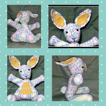 Pastel Bunny Stuffed Animal (crochet, gender neutral, boy, girl, ears, tail, pink, blue, yellow, white)