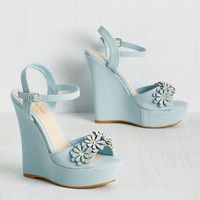 Unabashed Beauty Wedge in Sky | Mod Retro Vintage Heels | ModCloth.com